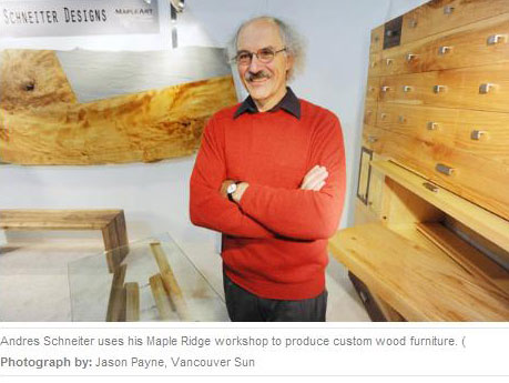 Andres Schneiter uses his Maple Ridge workshop to produce furniture.  Photograph by Jason Payne.